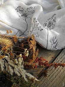 """Šály - Maľovaný nákrčník zo 100% ľahučkého ľanu, farba """"natural"""" - 11214141_"""