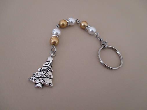 Kľúčenka alebo šperková dekorácia napr. na kabelku - vianočný stromček - bielo/zlatá