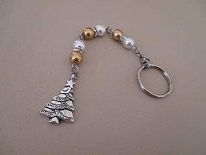 Kľúčenky - Kľúčenka alebo šperková dekorácia napr. na kabelku - vianočný stromček - bielo/zlatá - 11214672_