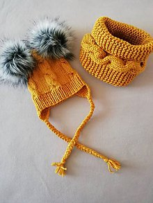 Detské čiapky - súprava dve bombulky  (Žltá) - 11214195_