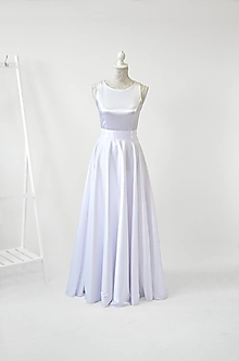 Šaty - Svadobná saténová sukňa - 11213748_