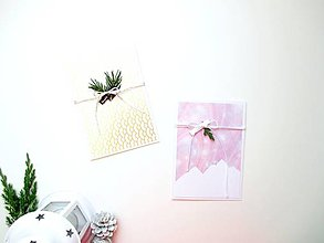 Papiernictvo - AKCIA! zľavnené Sviatočné pohľadnice - sada 2 ks ❄️ (Vianočná sada 1) - 11215549_