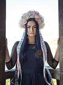 Ozdoby do vlasov - Kvetinová parta - čelenka - folklórna - ružová - 11214316_