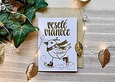 Vianočná pohľadnica - Vtáčik (Zlatá na bielom papieri)