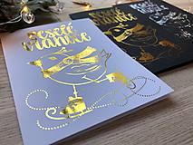 Papiernictvo - Vianočná pohľadnica - Vtáčik (Zlatá na bielom papieri) - 11216252_