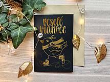 Papiernictvo - Vianočná pohľadnica - Vtáčik (Zlatá na čiernom papieri) - 11216255_