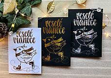 Papiernictvo - Vianočná pohľadnica - Vtáčik (Zlatá na čiernom papieri) - 11216262_