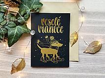 Vianočná pohľadnica - Psík (Zlatá na čiernom papieri)