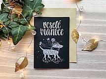 Vianočná pohľadnica - Psík (Strieborná žiarivá na čiernom papieri)
