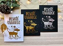 Papiernictvo - Vianočná pohľadnica - Psík (Zlatá na čiernom papieri) - 11216301_