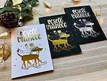 Papiernictvo - Vianočná pohľadnica - Psík (Zlatá na čiernom papieri) - 11216302_