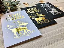 Papiernictvo - Vianočná pohľadnica - Psík (Zlatá na čiernom papieri) - 11216303_