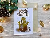 Papiernictvo - Vianočná pohľadnica - Snehuliak (zlatá na bielom papieri) - 11216339_