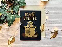 Papiernictvo - Vianočná pohľadnica - Snehuliak (zlatá na čiernom papieri) - 11216340_