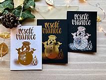 Papiernictvo - Vianočná pohľadnica - Snehuliak (zlatá na čiernom papieri) - 11216348_