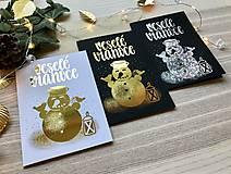 Papiernictvo - Vianočná pohľadnica - Snehuliak (zlatá na čiernom papieri) - 11216349_
