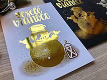 Papiernictvo - Vianočná pohľadnica - Snehuliak (zlatá na čiernom papieri) - 11216350_