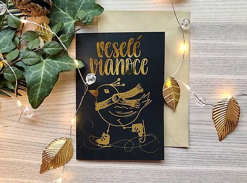 Vianočná pohľadnica - Vtáčik (Zlatá na čiernom papieri)