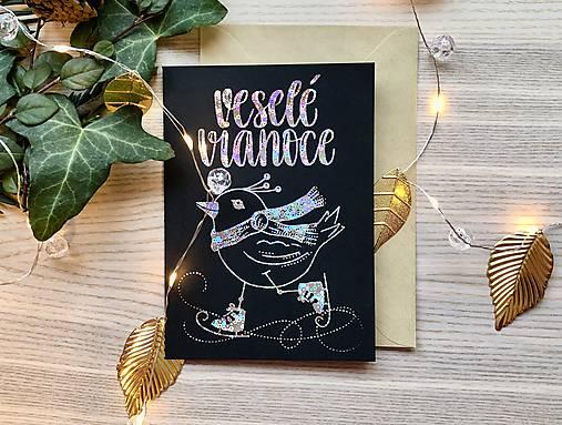 Vianočná pohľadnica - Vtáčik (Strieborná žiarivá na čiernom papieri)