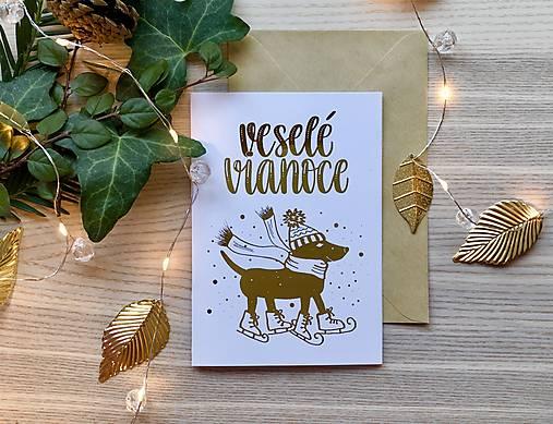 Vianočná pohľadnica - Psík (Zlatá na bielom papieri)