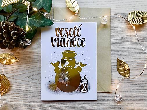 Vianočná pohľadnica - Snehuliak (zlatá na bielom papieri)