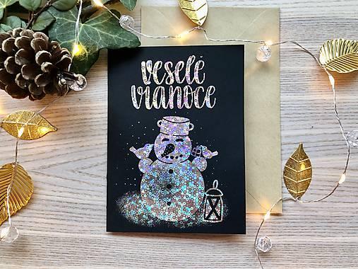 Vianočná pohľadnica - Snehuliak (Strieborná žiarivá na čiernom papieri)