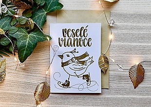 Papiernictvo - Vianočná pohľadnica - Vtáčik (Zlatá na bielom papieri) - 11216251_