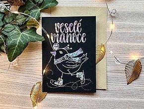 Papiernictvo - Vianočná pohľadnica - Vtáčik (Strieborná žiarivá na čiernom papieri) - 11216257_