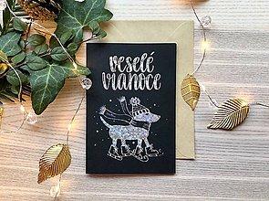 Papiernictvo - Vianočná pohľadnica - Psík (Strieborná žiarivá na čiernom papieri) - 11216300_