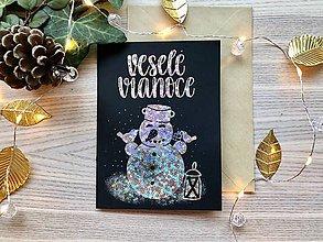 Papiernictvo - Vianočná pohľadnica - Snehuliak (Strieborná žiarivá na čiernom papieri) - 11216342_