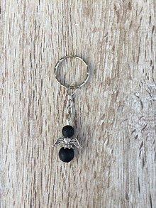 Kľúčenky - kľúčenka anjel, prívesok na kľúče (Čierna) - 11215822_