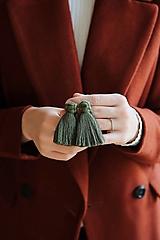 Náušnice - Macramé náušnice (olivová) - 11216150_