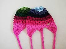 Detské čiapky - Farebné pásikavé ušianky pre sestričky - 11214272_