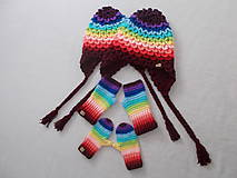 Detské čiapky - Farebné pásikavé ušianky pre sestričky - 11214277_
