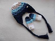 Detské čiapky - Farebné pásikavé ušianky pre sestričky - 11214278_