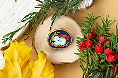 Odznaky/Brošne - Ručně malovaná brož se spící polární liškou - 11216689_