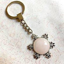 Kľúčenky - Rose Quartz Snowflake Keychain / Kľúčenka s ruženínom - snehová vločka - 11217087_