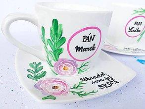 """Nádoby - Svadobné šálky """"Nežná krása v ružovej"""" - 11218431_"""