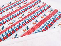 Textil - Biela ovečková deka s červeno-modrými zvieratkami 70*100cm - 11218862_