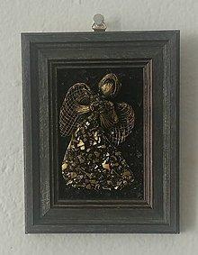 Obrazy - Zlatý anjelik v ráme - 11217504_