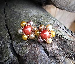 Náušnice - Kvetinkové perlové napichovačky (Jesenné) - 11217033_