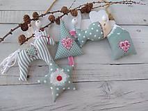 Dekorácie - Vianočné ozdôbky v mentolovo-sivej - 11218346_