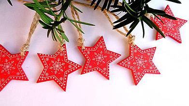 Dekorácie - Vianočné ozdoby - červené hviezdičky - 11218254_