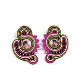 Náušnice - SCARLETT - ružovo-zelené napichovacie náušnice - 11218913_