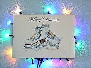 Obrazy - Zimné korčule, akvarel, Vianočná dekorácia - 11218693_