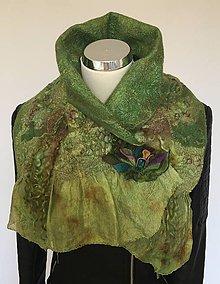 Šály - Zeleno - hnedý šál/nákrčník so špecifickou textúrou vo farbách lesa - 11218594_