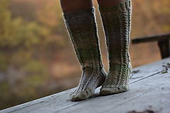 Obuv - vysoké ponožky v zemitých tónoch (v.39-40) - 11218392_