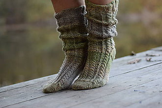 Obuv - vysoké ponožky v zemitých tónoch (v.39-40) - 11218384_