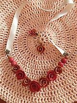 Sady šperkov - Červeno-zlatý set ruží - 11218129_
