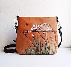 """Kabelky - MILA """"Water Lily"""" kožená kabelka s vypaľovaným obrázkom - 11218170_"""